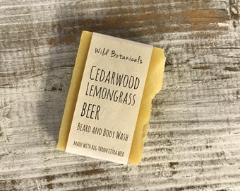 Cedarwood Lemongrass Beer Beard and Body Wash, Organic, All Natural, Scented, Vegan, Handmade, Cold Process Soap, Wildflower Seed Paper