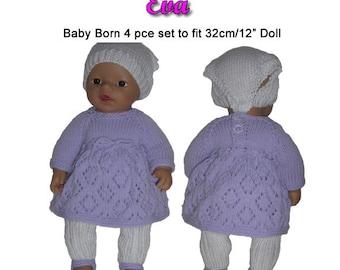 Baby Born Knitting Pattern (EVA) fits 12 inch/32cm dolls