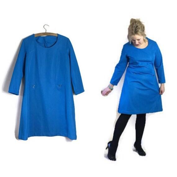 Blue 60s dress / A line blue dress / twiggy style 60s dress / handmade vintage dress / 60s space age dress / plain blue mod dress / flared