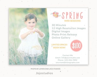 Spring Marketing Board, Easter Spring Photography Marketing, Photoshop Template for Photographers, Spring Mini Session Marketing, c140