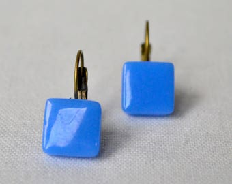 Blue square earrings