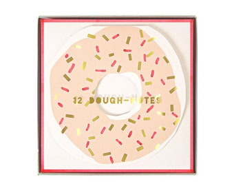Doughnut Note Card Set (Set of 12) 4 Designs + Envelopes | Donut Party Thank You Cards