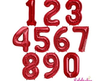 RED 34 inch Foil Mylar Number Balloons (NUMBERS 0-9)