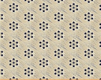 Windham Freedom Bound Cream Blue Star Circle Background American Vintage Patriotic Civil War 41977-1 Fabric BTY
