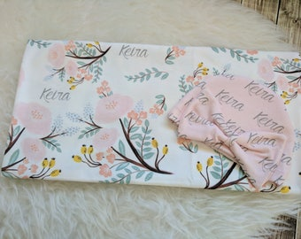 Personalized baby name pink hat and swaddle blanket set: baby and toddler personalized name newborn hospital gift baby shower gift