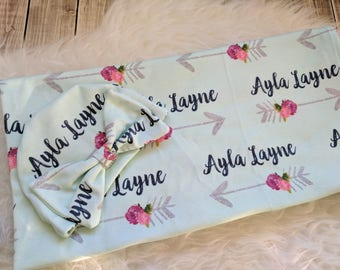 Personalized baby rose arrow name bow hat and name blanket set: baby and toddler personalized name newborn hospital gift baby shower gift
