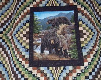 BEAR FAMILY BARGELLO king-queen quilt -measures 96X100