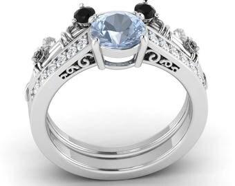 bridal set aquamarine engagement ring with black si diamond in 14k gold aquamarine bridal - Mickey Mouse Wedding Ring