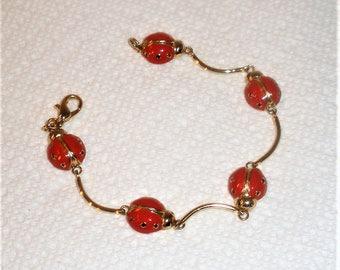 "Vintage Lady Bug Bracelet / Enameled on Gold Toned Setting / 6 7/8"" / Five Lady Bugs / Lobster Claw Clasp / Pristine Condition"