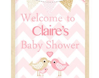 Elephant baby shower decorations, Baby Shower Welcome Sign, Pink and Gold baby shower, Choose your colors