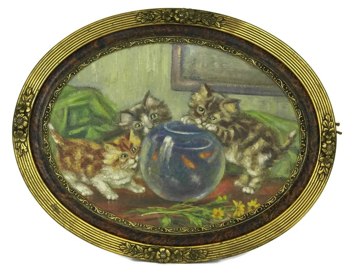 French Antique Cat Painting. Kittens and Fish Bowl Original Art in Oval Art Deco Frame. Animal Lover Gift.