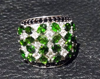 Siberian Emerald Ring, Chrome Diopside Sterling Silver Black Spinel White Topaz