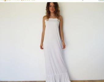 CIJ SALE White Maxi Dress Summer Strapless Dress Long Jersey Tunic Dress Elastic Top Floor Length Dress White Summer Dress Cotton Maxi Dress