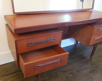 Mid Century Teak Desk Mirror Vanity  G Plan VB Wilkins Teak