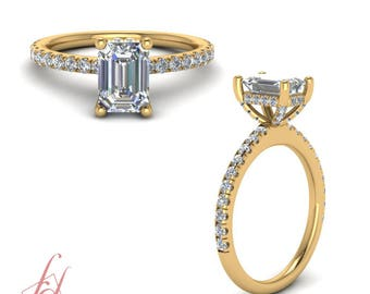 High Set Petite Engagement Ring 1.15 Ct. Emerald Cut Diamond In 14K Yellow Gold GIA Certified