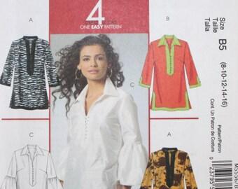 McCalls M5556, Hippie Style Tunic, Bohemian Tunic, Pullover Tunic, Long Cotton Tunic, Gauzy Tunic, Long Sleeve, Size  8 10 12 14 16, UNCUT