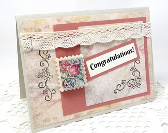 Congratulations Card - Shabby Chic Congratulations Card - Rustic Chic - French Vintage - Ivory Lace Trim - Vintage Rose - Blank Card
