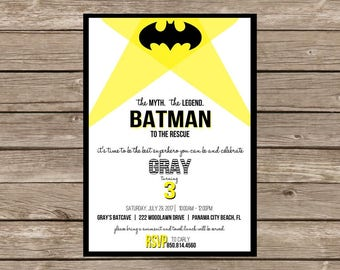 Modern Batman Birthday Invitation
