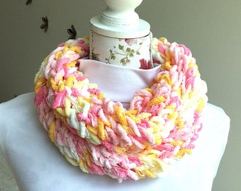 Pink/yellow knit infinity scarf