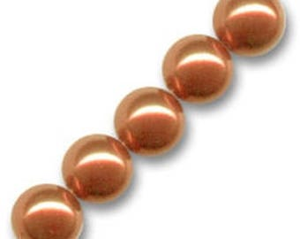 10 x 10 mm COPPER Pearly round glass beads