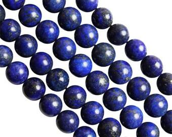 10 x 8mm Lapis Lazuli round beads