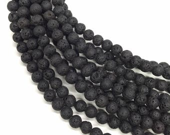 10 x beads 6mm black lava stone
