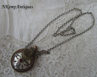 Real silver chain and metal scent bottle