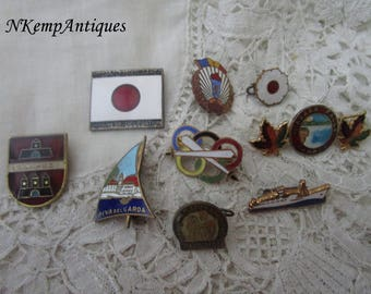 Old enamel brooch /badge x 9