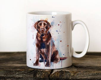 Chocolate Labrador Mug Watercolor Ceramic Mug Unique Gift Coffee Mug Animal Tea Cup Art Illustration Cool Kitchen Art Printed mug dog
