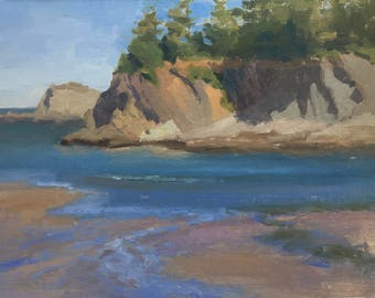 Sunset Bay Morning - Original contemporary Landscape painting - Oil Painting