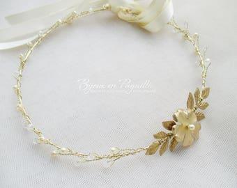 WEDDING HEADBAND bridal ivory/Gold - Crown flower headband