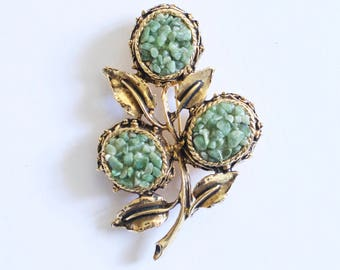 Green Thistle vintage brooch