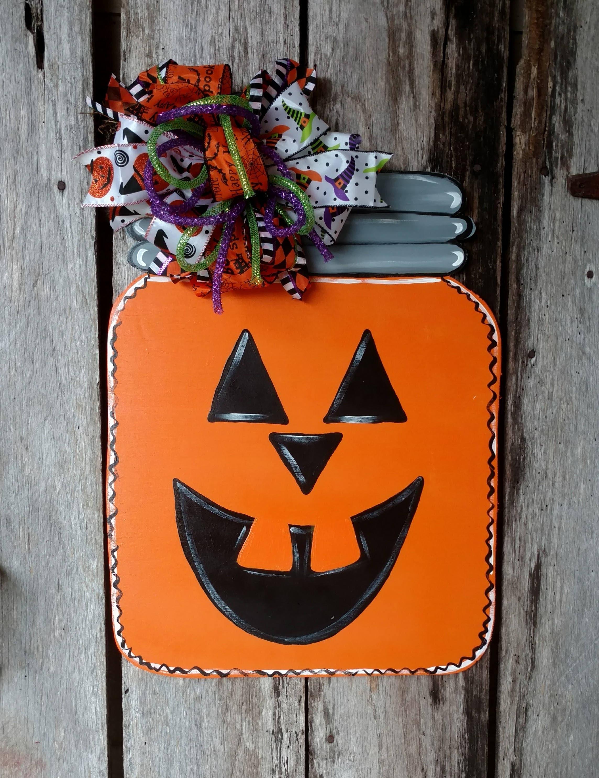 Pumpkin Mason Jar Door Hanger Halloween Door Hanger
