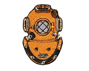 "Deep Sea Diving Helmet Logo Emblem Iron on Patch 3"" Ocean Underwater Dive Mark-V"