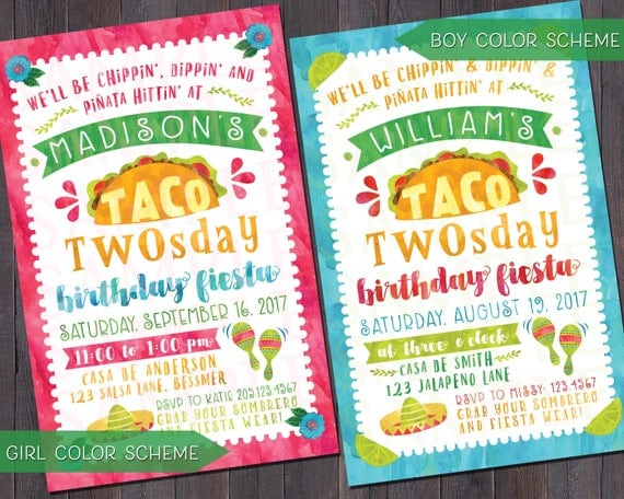 taco twosday fiesta birthday invitations thank you notes, Birthday invitations