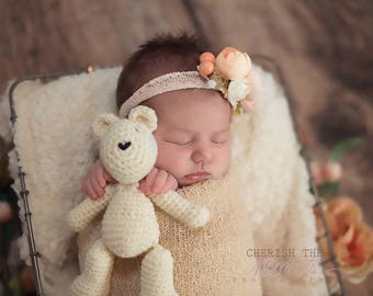 Newborn crocheted teddy bear buddy