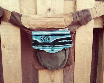 Recycled leather pocket Brown