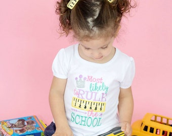 Back to School Shirt - Rule the School - Girls back to school tee - embroidered shirt - Girls Rule - Back to School - Princess