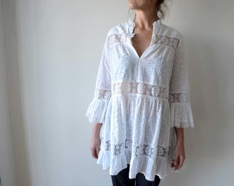 Vintage 1970's white sheer cotton and lace boho dress / top with beautiful sleeves  xs