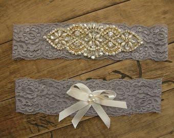 Wedding Garters, Gray Bridal Garter Set, Crystal Rhinestone &Pearl / Vintage Inspired Garter / Gray / Gold / Vintage Lace Garter