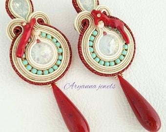 "Soutache earring ""coral"""