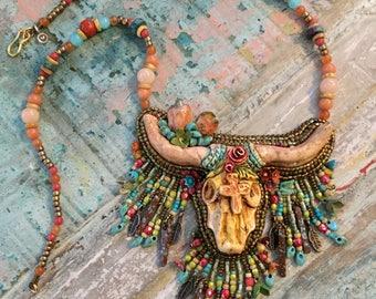 Boho Bull Horn Necklace