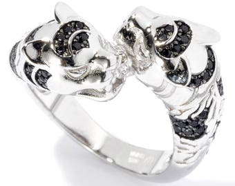 Sterling Silver 0.55ctw Black Spinel Ring SZ 6,7,8