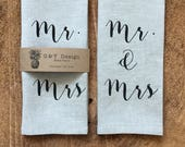 Mr.& Mrs.Screen Printed 100% Natural Linen Tea Towel, Wedding Gift , Bridal Shower