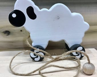Basque Sheep Pull Toy - Waldorf - Wood Toy - Pull Toy - Basque - Sheep - Child - Toy