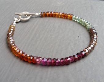Colorful Shaded Multi-Zircon Bracelet, Natural Jewelry, Rainbow Gems, Stacking Bracelet FREE USA SHIPPING