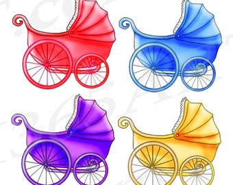50% OFF Baby Stroller Clipart, Baby Carriage Clip art, Baby Shower Clipart, Baby Girl, Party Invitations, Vintage Carriage, Scrapbooking, Co