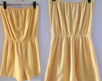 vintage 80's YELLOW TERRYCLOTH ROMPER - small, medium, shorts