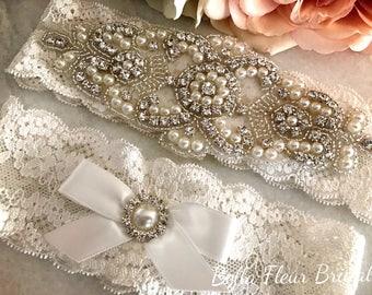 Wedding Lace Garter Set - Rhinestone Garter - Pearl Garter - Toss Garter - Bridal Garter - Wedding Garter Belt - Keepsake Garter