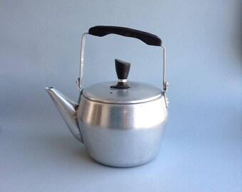Small aluminum Soviet vintage kettle Authentic Soviet vintage teapot Retro cottage coffee pot Old metal good condition kettle silver Soviet